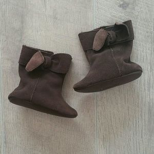Baby Gap Brown Suede Soft Sole Bow Boots 3-6 Mo
